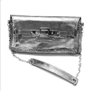 Jill Stuart Python print purse in silver